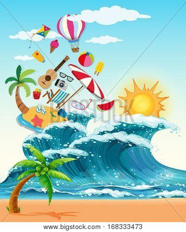 Summer theme with big waves and sunshine illustration