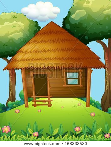Wood cabin on the hill illustration
