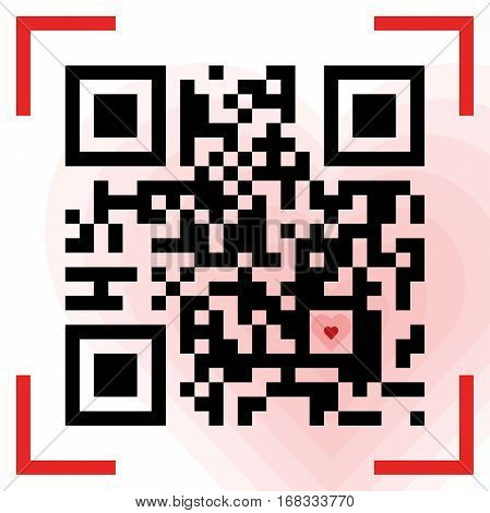 Vector illustration of Qr code sample with small red heart inside. Scanned Qr code reads I love you