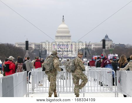 WASHINGTON DC - JANUARY 20: National guard men on duty during Inauguration of Donald Trump. Taken January 20 2017 in District of Columbia.