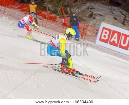 STOCKHOLM SWEDEN - JAN 31 2017: Mattias Hargin (SWE) and competitor in the downhill skiing in the parallel slalom alpine event Audi FIS Ski World Cup. January 31 2017 Stockholm Sweden
