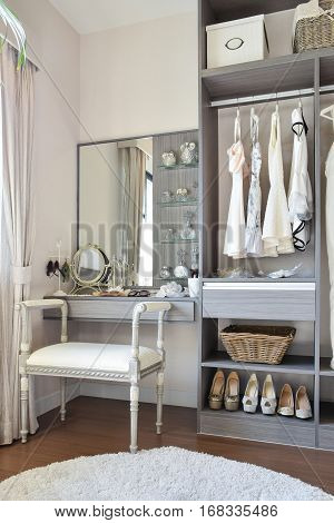 Vintage Style Dressing Room With Classic White Chair And Dressin