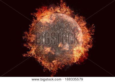 Planet In Fire - Mercury. Science Fiction Art.
