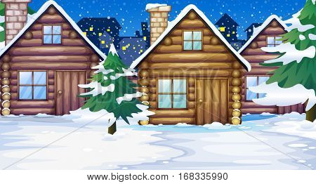 Wood cabins in the snow illustration