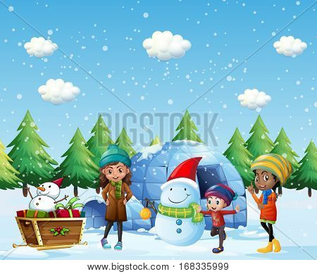 Children with igloo and snowman in winter illustration