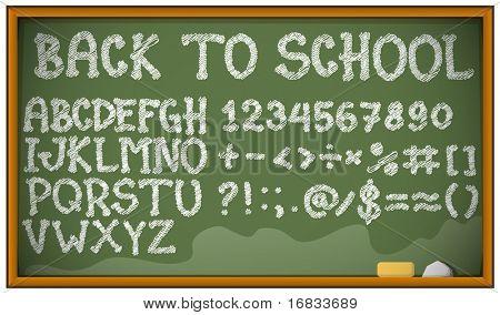 Schule-Alphabet, Ziffern und Zeichen auf Klassenzimmer blackboard