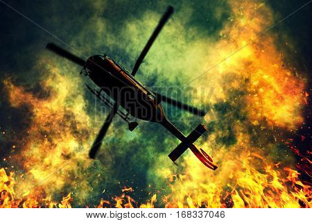 Rescue helicopter flying over fire disaster with dense smoke. Firefighting and life saving concept.
