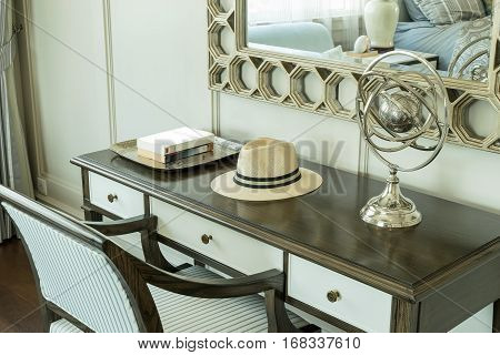 Classic Wooden Chair With Dressing Table At Home