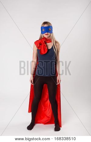 Young Woman Superhero In Superwoman Costume
