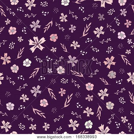 Seamless non-directional flower pattern. tiny botanical elements in pink and cream on purple background.