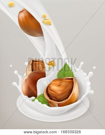 Milk splash and hazelnuts 3d vector object. Natural dairy products
