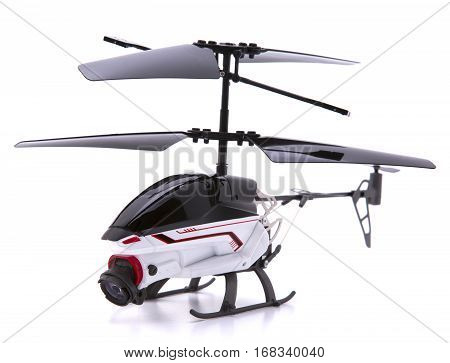 Helicopter Drone with Camera on a white background