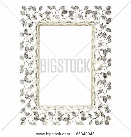 Silver leaf pattern picture frame on a white background
