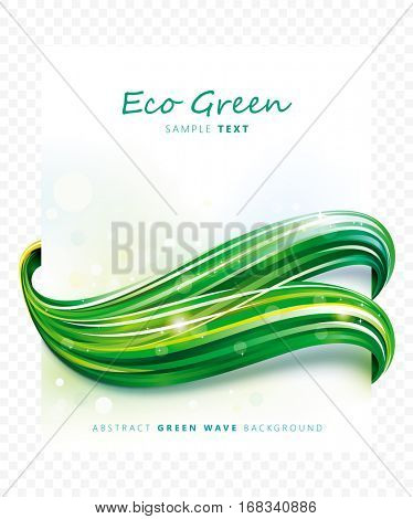 Eco green abstract wave background.