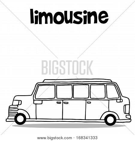 Hand draw transport of limousine vector illustration