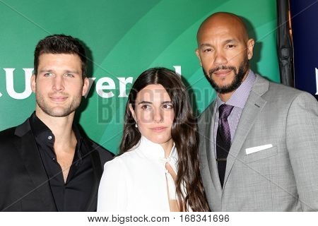 LOS ANGELES - JAN 17:  Parker Young, Marianne Rendon, Stephen Bishop at the NBC/Universal Cable TCA Winter 2017 at Langham Hotel on January 17, 2017 in Pasadena, CA