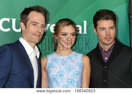 LOS ANGELES - JAN 17:  Michael Vartan, Christine Evangelista, Josh Henderson at the NBC/Universal Cable TCA Winter 2017 at Langham Hotel on January 17, 2017 in Pasadena, CA
