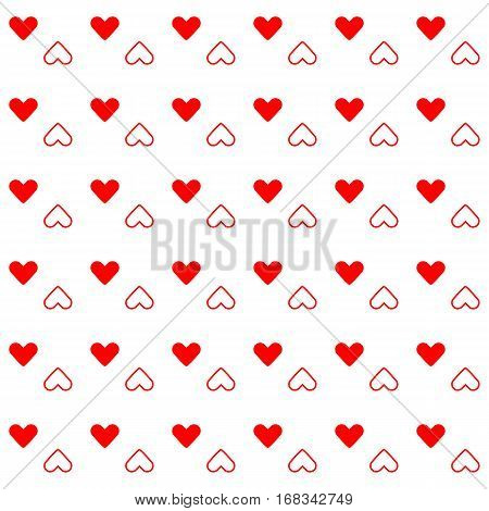 Red heart created pattern background stock vector