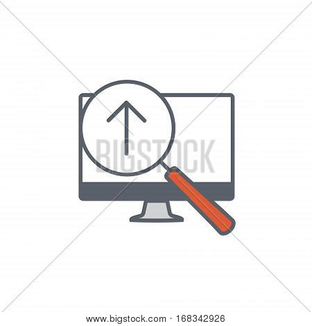 Vector icon or illustration showing web site seo ranking with magnifying glass and monitor in one balck color