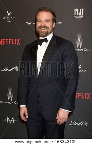 LOS ANGELES - JAN 8:  David Harbour at the Weinstein And Netflix Golden Globes After Party at Beverly Hilton Hotel Adjacent on January 8, 2017 in Beverly Hills, CA