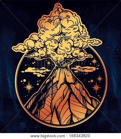 Boho tribal style hand drawn volcano. Nature disaster. The eruption and smoke in sky with clouds. Isolated vector illustration.