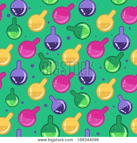 Magic potion pattern. Alchemy glass flasks seamless background for gift wrap textile party banners and wallpaper.