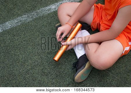 Student Boy Preparing Warm Up For Relay Race Boy At School Sports Day. School Sports Day Concept.