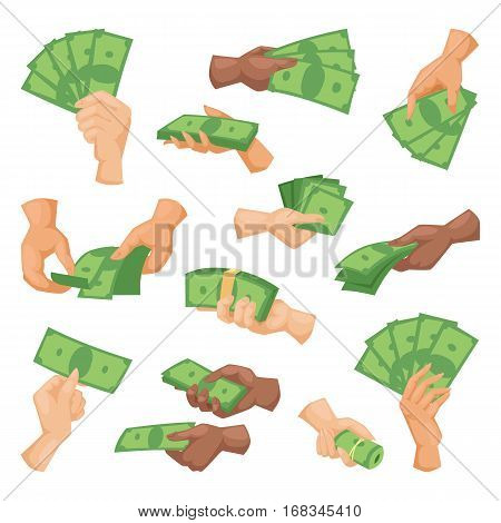 Hands holding dollars and money bills. Vector illustration in flat style. Businessman financial rich people body part. Success banknote currency cash.