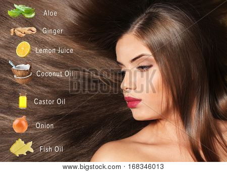 Natural growth enhancers and young woman with long silky hair. Beauty concept