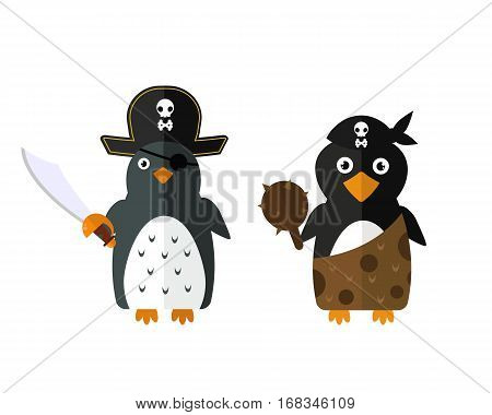 Penguin pirate vector illustration character. Cartoon funny cute animal with headphones isolated. Antarctica polar beak pole winter bird. Funny outdoors wild life south arctic.