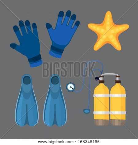 Snorkeling or scuba fins or diving suit equipment vector illustration. Underwater swimming deep professional shoe exercise. Water sport footwear equipment vector.