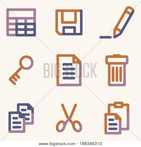 Document icons set 1, color contour series
