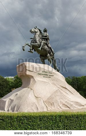 Monument to Russian emperor Peter the Great in Petersburg. City sculpture history