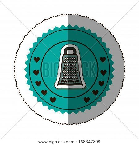 sticker color round frame with grater vector illustration