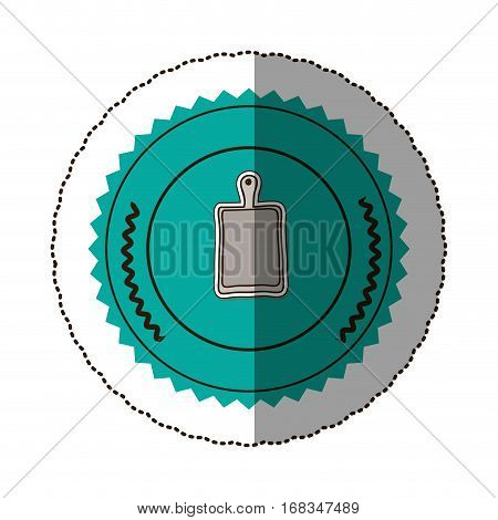 sticker color round frame with chopping board vector illustration