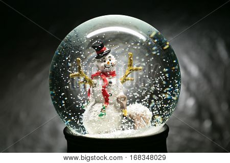 Winter Snow Globe With Snowman On Silver