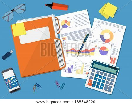 Business document concept. documents folder, financial report with graphs, calculator and pen. vector illustration in flat style