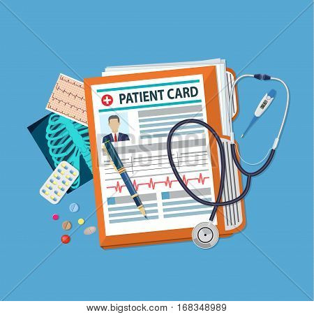 Folder woth documents, stethoscope, pills, pen, thermometer, x-ray. patient card. medical report. analysis or prescription concept. vector illustration in flat style