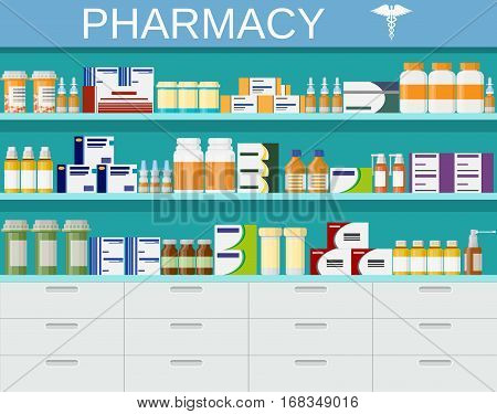 Modern interior pharmacy and drugstore. pharmacy shelves with medicine pills bottles liquids and capsules. vector illustration in flat style.
