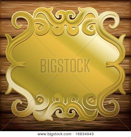 Vintage metal signboard on old wooden planks (vector background)