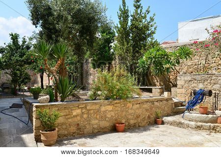 Rethymno city Greece Historical and Folklore Museum garden