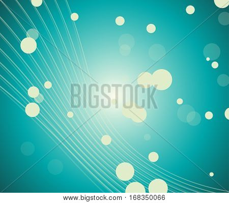 A turqoise abstract background with lines, circles and light