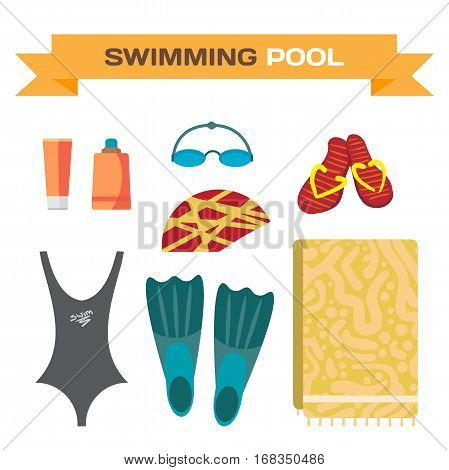 Swimwear and accessories for swimming. Bathing suit, swimming trunks, goggles, towel, flip flips, swim cap, soap. Flat cartoon isolated vector illustration
