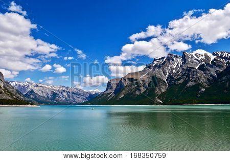 Maligne Lake. Canadian Rockies. Jasper National Park. Alberta. Canada. poster