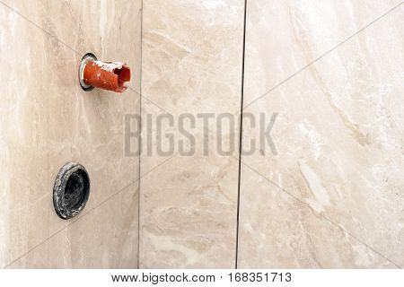 House Construction And Renovating, Pipes And Plumbing Tools. Bathroom Details With Installation Of P