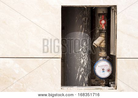 Old Or New Dirty Water Counter In Apartment Durind Renovation