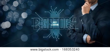Deep structured learning, hierarchical learning or deep machine learning concept - learning methods based on learning representations of data. Businessman or programmer with abstract symbol of a chip with text deep learning connected with data represented