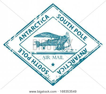 Grunge rubber stamp with plane in the middle and the text Antarctica written inside the stamp