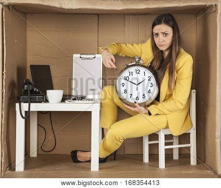 Business Woman Pointing At Ending Time
