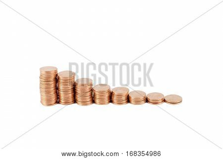 Stack of coins (American pennies - $0.01) photographed on a white background.